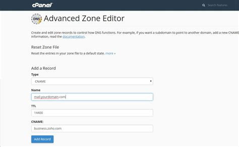 How to Setup Custom URL for Zoho Mail in cPanel