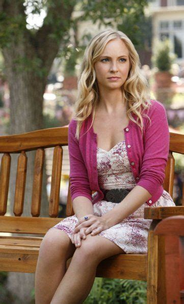 Caroline Forbes rocking a fun and girly dress with a pink