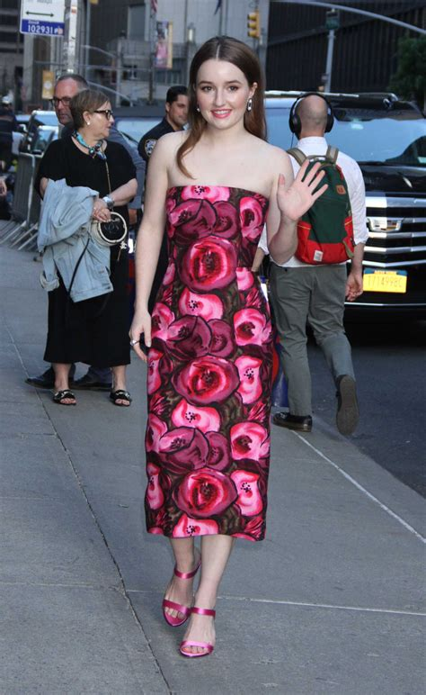 Kaitlyn Dever in a Red Floral Dress Arrives at The Late