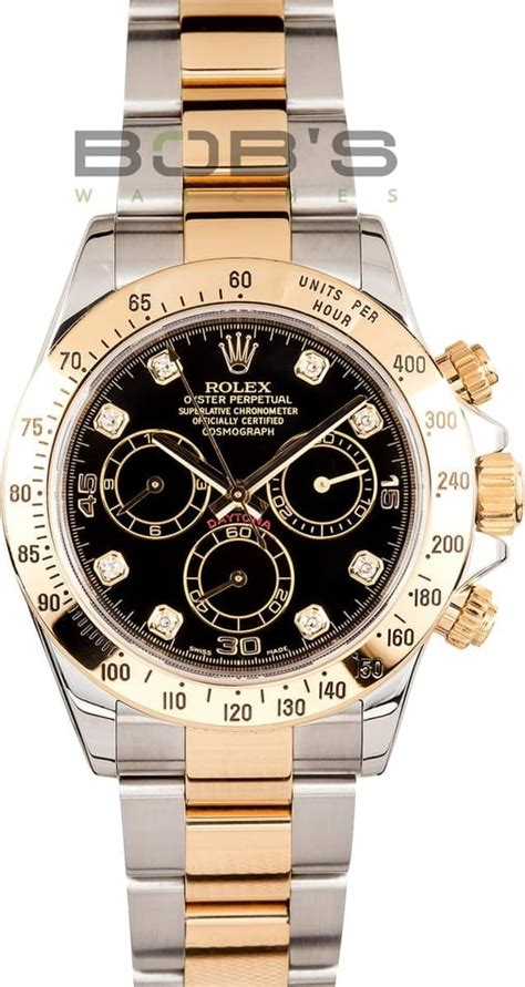 Rolex Daytona Two Tone Black Dial with stickers 116523 at