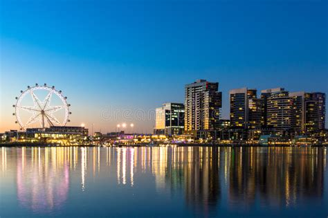 The Docklands Waterfront Of Melbourne At Night Stock Image