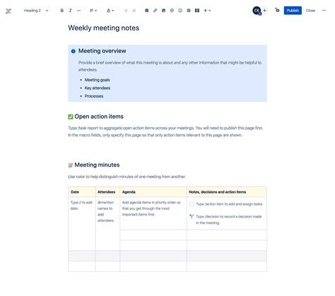 Weekly meeting notes template | Atlassian
