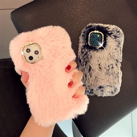 Cute Fluffy Rabbit Fur Case Cover for iPhone 11 Pro Max