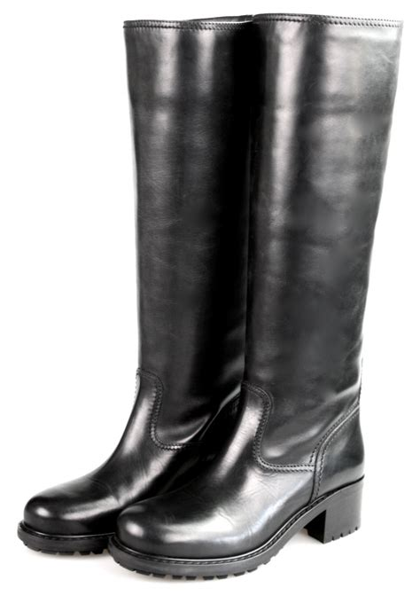 AUTHENTIC CAR SHOE BY PRADA LEATHER BOOTS KDW821 BLACK NEW