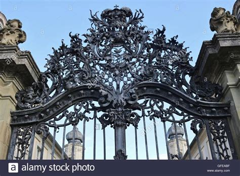 Wrought-iron gate of the baroque Palace Werneck in Werneck