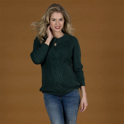 LOVE2WAIT - Trui Cable green - Bellyfashion