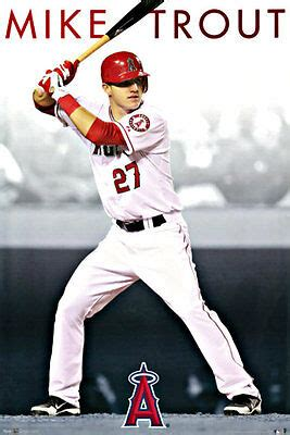 MIKE TROUT POSTER LOS ANGELES (LA) ANGELS of ANAHEIM LARGE