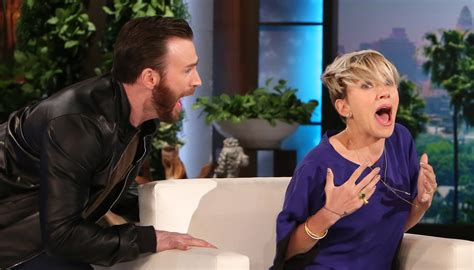 Chris Evans Scares Scarlett Johansson on 'Ellen' – Watch