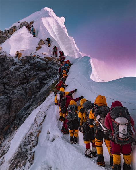 Climbing the Hillary Step on the way to Everest's Summit