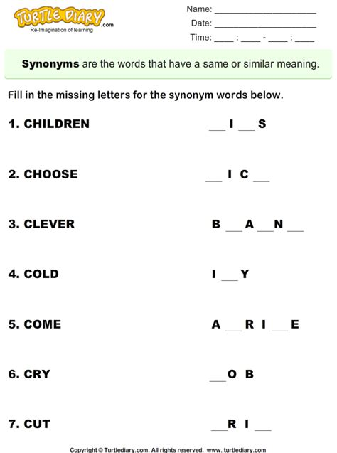 Synonym Fill the Missing Letters Worksheet - Turtle Diary